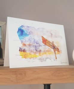 Watercolour Print Angel of the North Greetings Card.