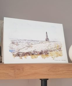 Watercolour Print Stoodley Pike Greetings Card.