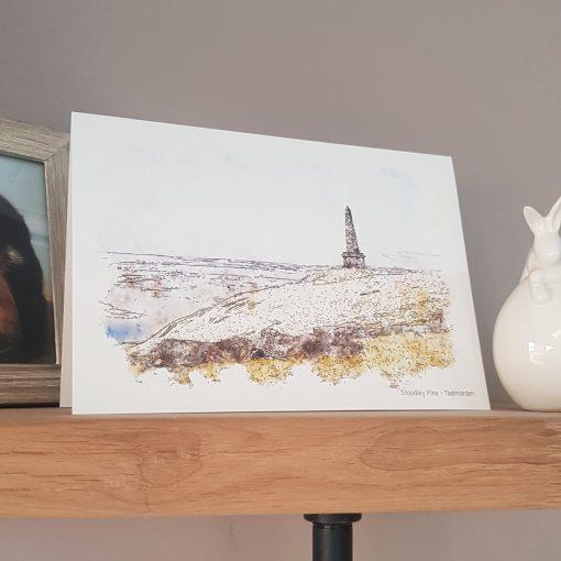 Watercolour Print Stoodley Pike Greetings Card.