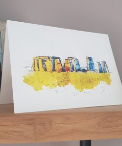 Watercolour Print Stonehenge Greetings Card.