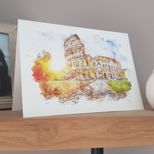 Watercolour Print Rome Colosseum Greetings Card.