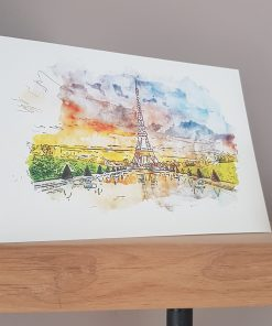 Watercolour Print Paris Eiffel Tower Greetings Card.