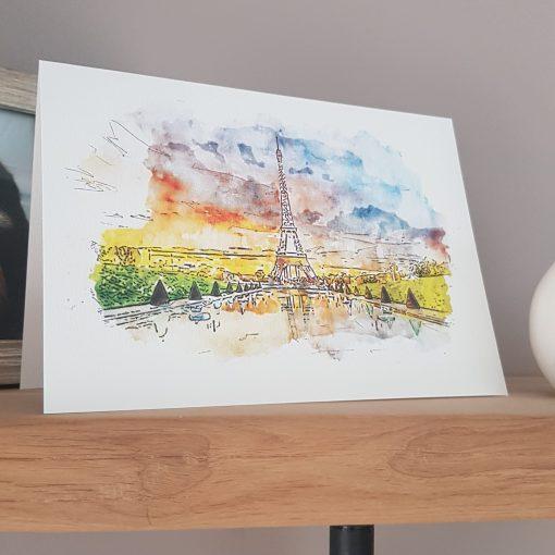 Watercolour Print Paris Eiffel Tower Greetings Card.