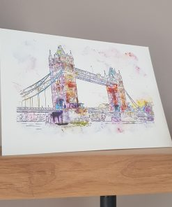 Watercolour Print London Tower Bridge Greetings Card.