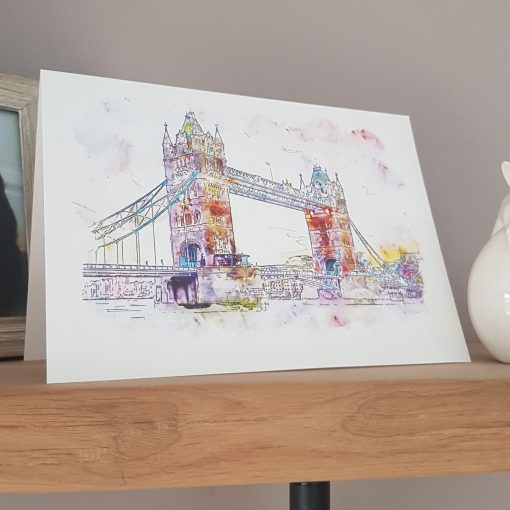 Watercolour Print London Tower Bridge Greetings Card.