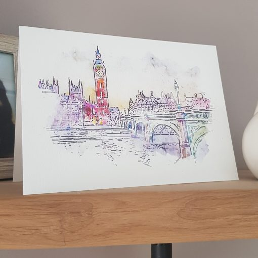 Watercolour Print London Big Ben Greetings Card.